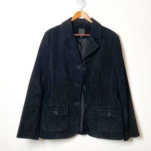 Vintage Black Genuine Leather Contemporary Structured Blazer Jacket